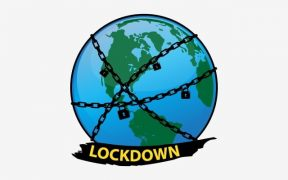 vector image of earth showing lockdown