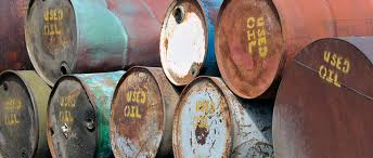 lubricant oil drums stacked